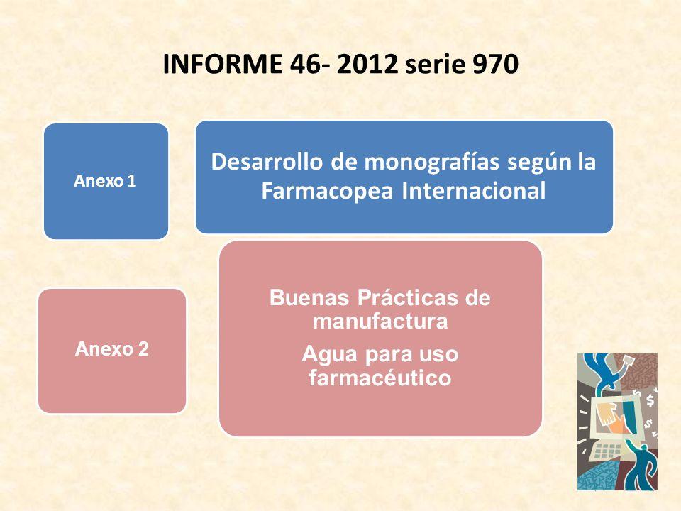 INFORME 46- 2012 serie 970 Anexo 1. Desarrollo de monografías según la Farmacopea Internacional. Buenas Prácticas de manufactura.