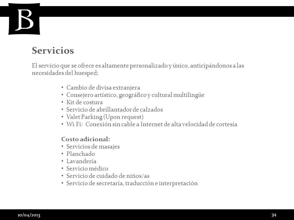 Servicios Costo adicional: