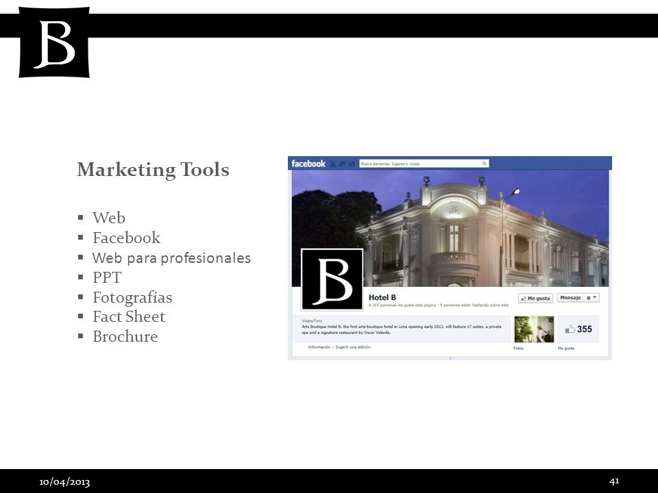 Marketing Tools Web Facebook Web para profesionales PPT Fotografías