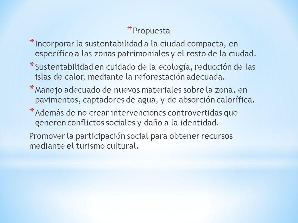 Propuesta Incorporar la sustentabilidad a la ciudad compacta, en específico a las zonas patrimoniales y el resto de la ciudad.
