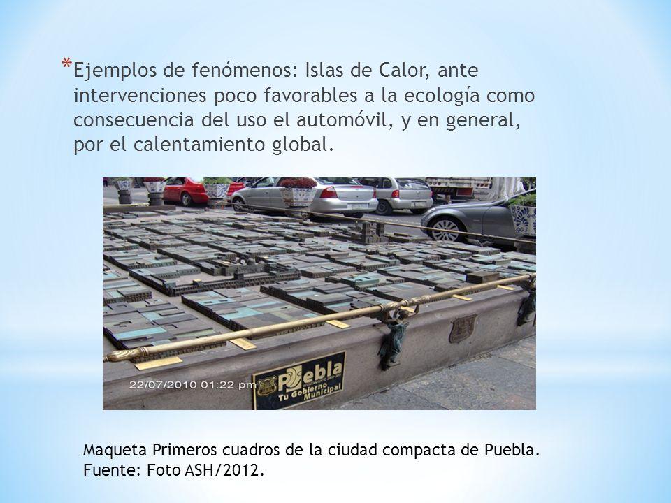 Ejemplos de fenómenos: Islas de Calor, ante intervenciones poco favorables a la ecología como consecuencia del uso el automóvil, y en general, por el calentamiento global.