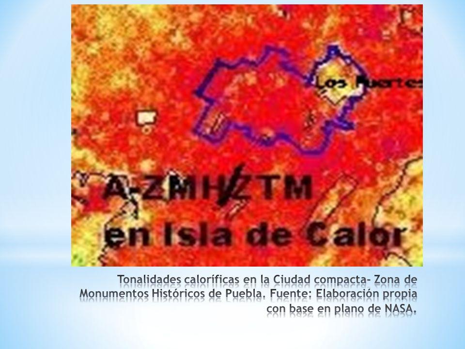 Tonalidades caloríficas en la Ciudad compacta- Zona de Monumentos Históricos de Puebla.