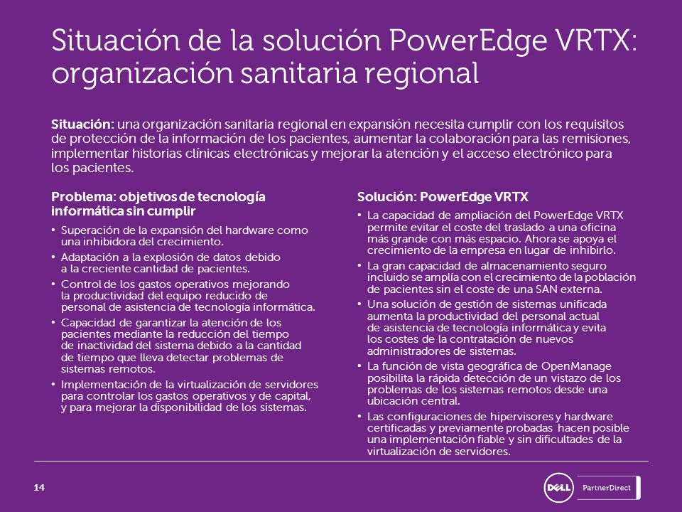 Situación de la solución PowerEdge VRTX: organización sanitaria regional