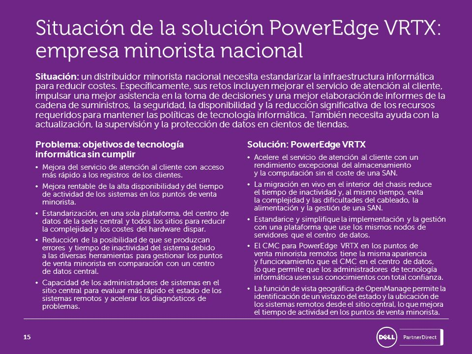 Situación de la solución PowerEdge VRTX: empresa minorista nacional