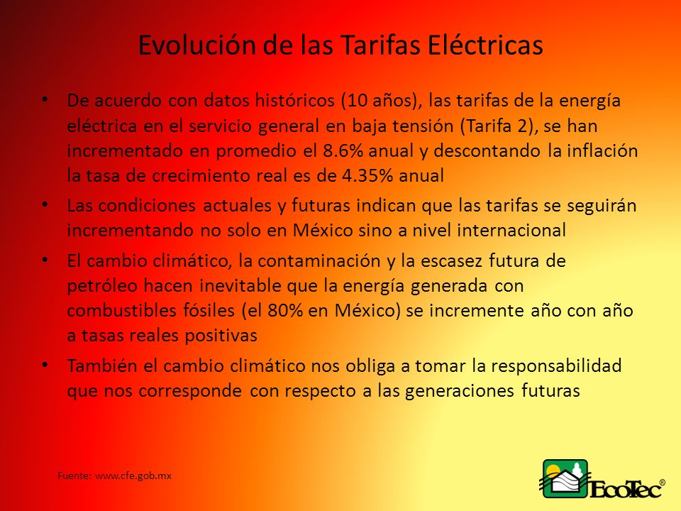Evolución de las Tarifas Eléctricas