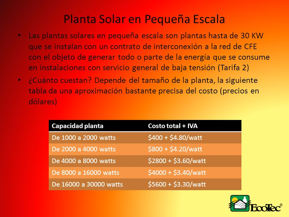 Planta Solar en Pequeña Escala