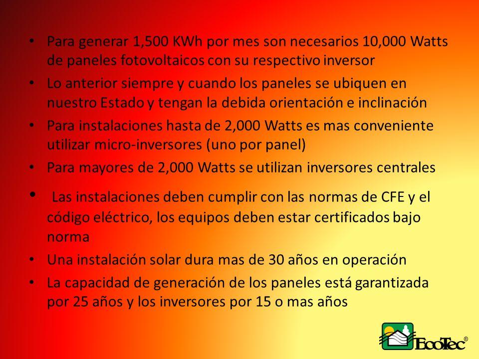 Para generar 1,500 KWh por mes son necesarios 10,000 Watts de paneles fotovoltaicos con su respectivo inversor