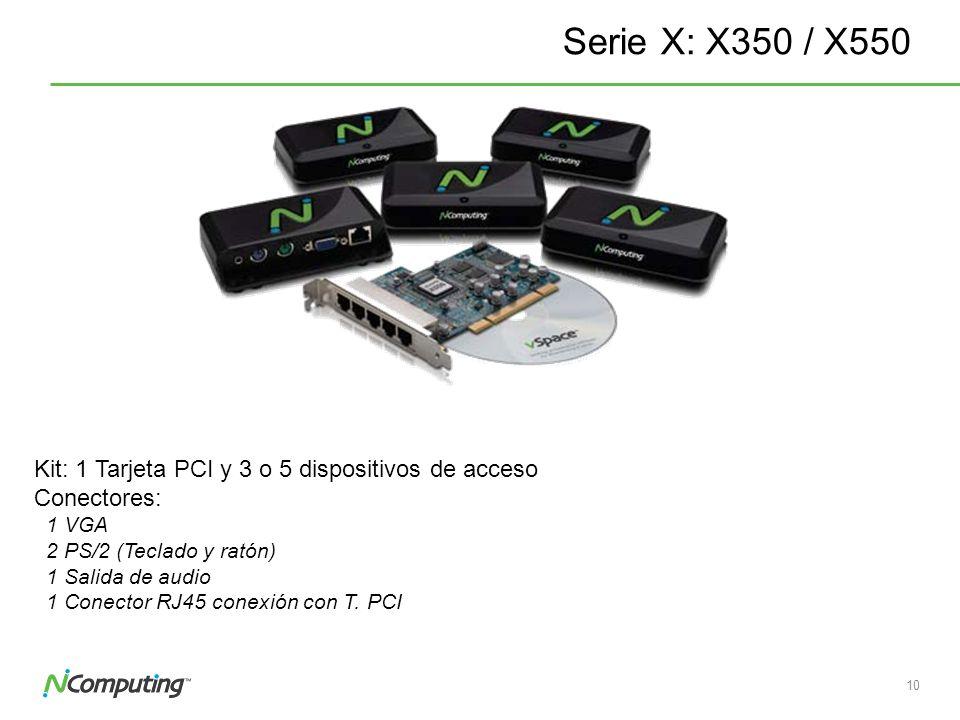 Serie X: X350 / X550 Kit: 1 Tarjeta PCI y 3 o 5 dispositivos de acceso