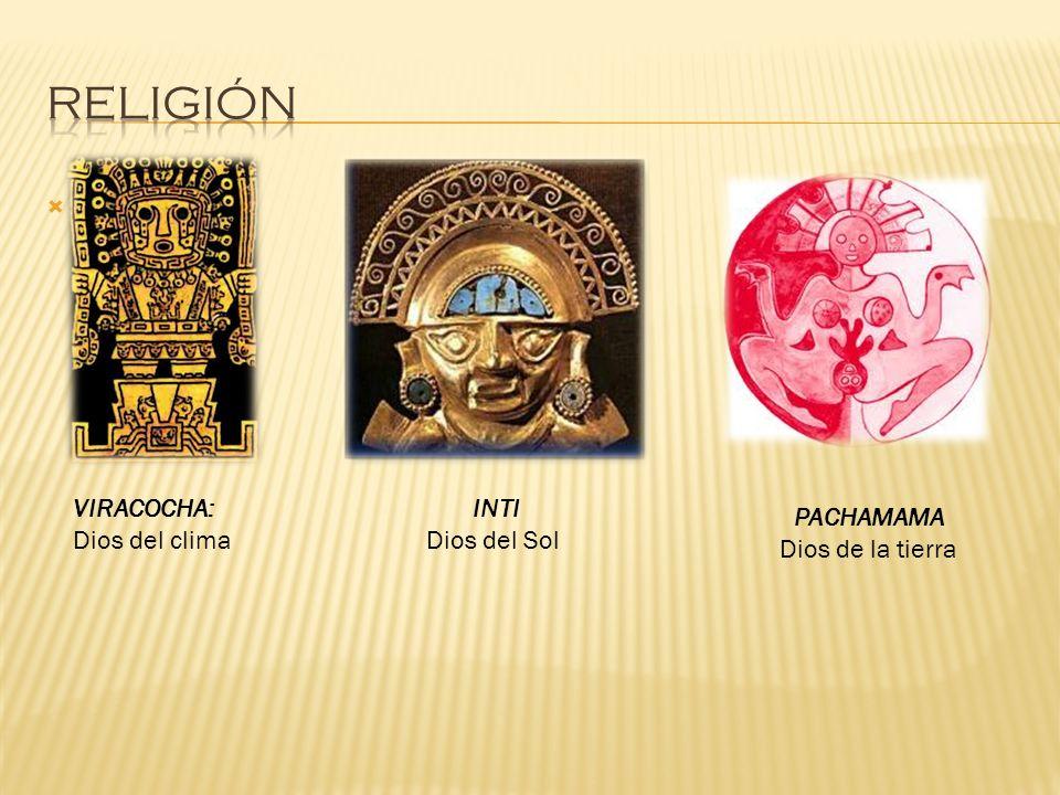 RELIGIÓN VIRACOCHA: Dios del clima INTI Dios del Sol PACHAMAMA