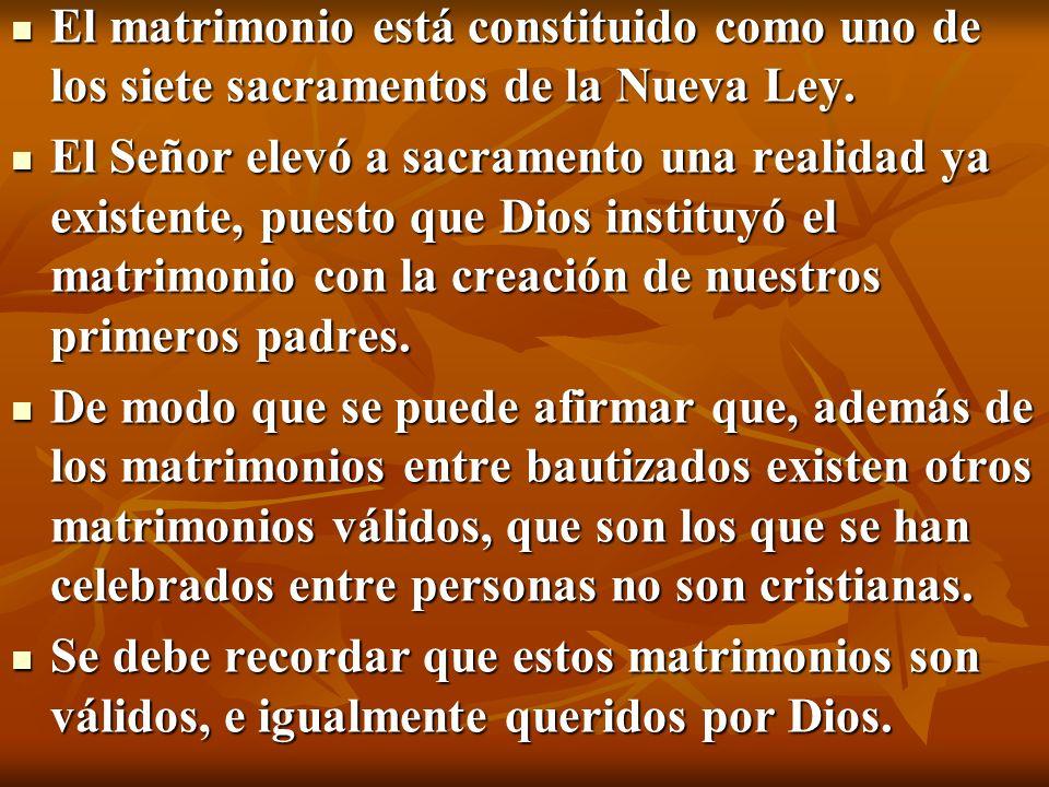El matrimonio está constituido como uno de los siete sacramentos de la Nueva Ley.