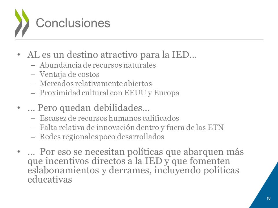 Conclusiones AL es un destino atractivo para la IED…