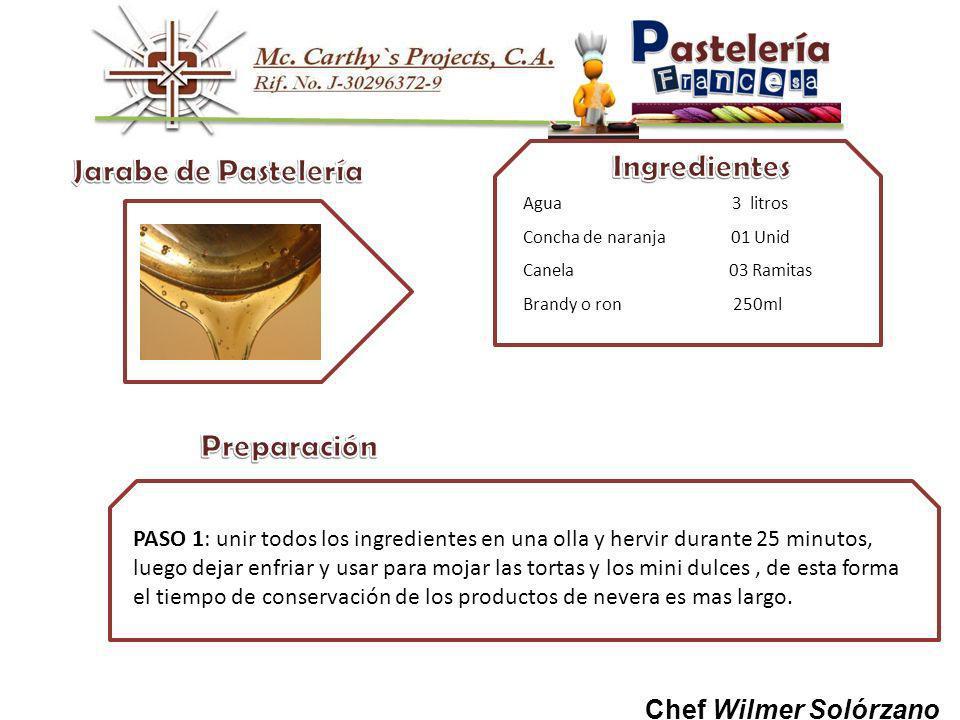 Jarabe de Pastelería Preparación Ingredientes Chef Wilmer Solórzano