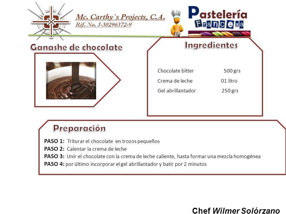 Ganashe de chocolate Preparación Ingredientes Chef Wilmer Solórzano