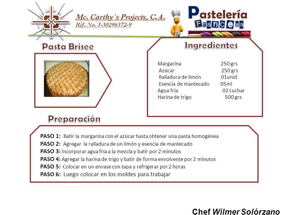 Pasta Brisee Preparación Ingredientes Chef Wilmer Solórzano