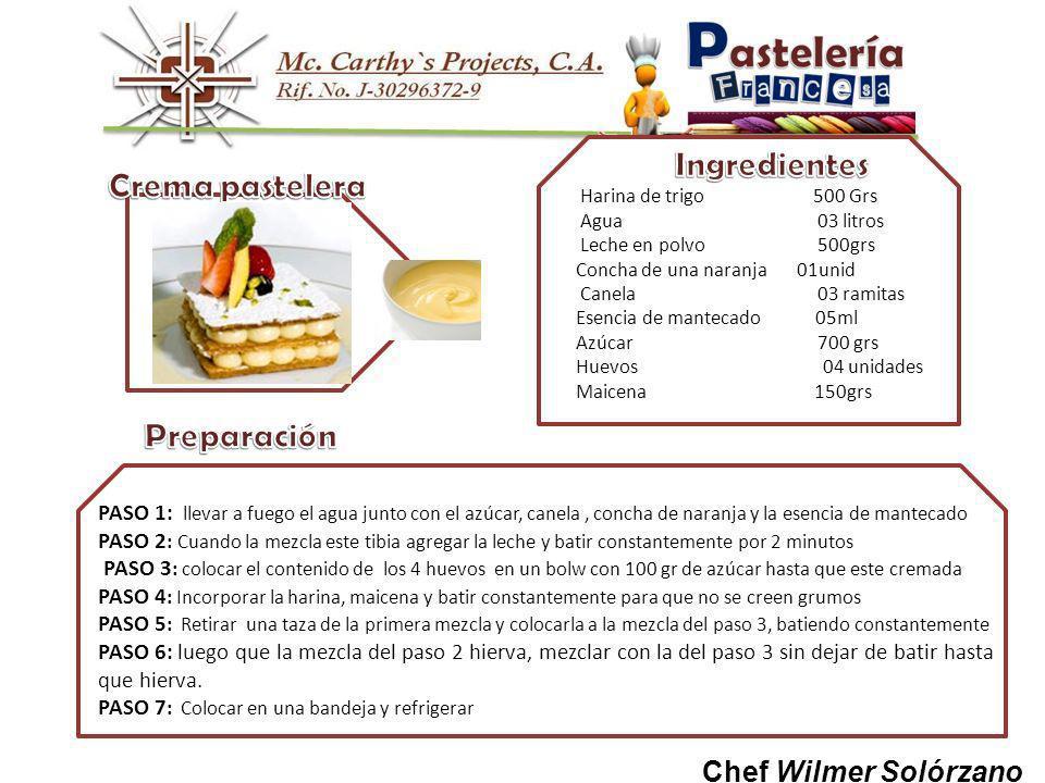 Crema pastelera Preparación Ingredientes Chef Wilmer Solórzano
