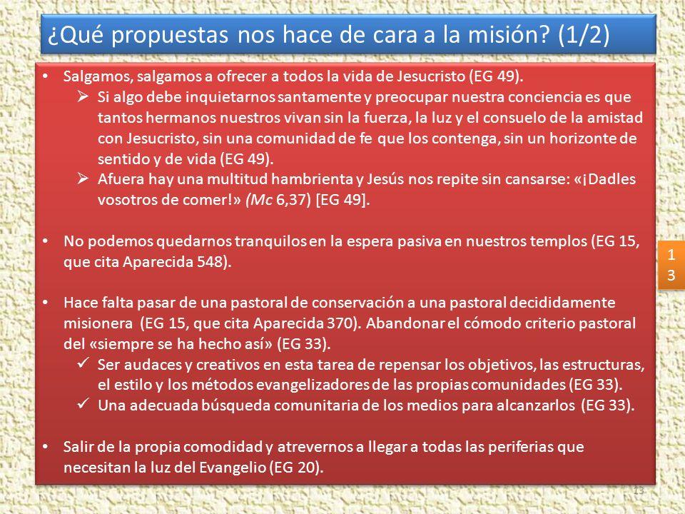 ¿Qué propuestas nos hace de cara a la misión (1/2)
