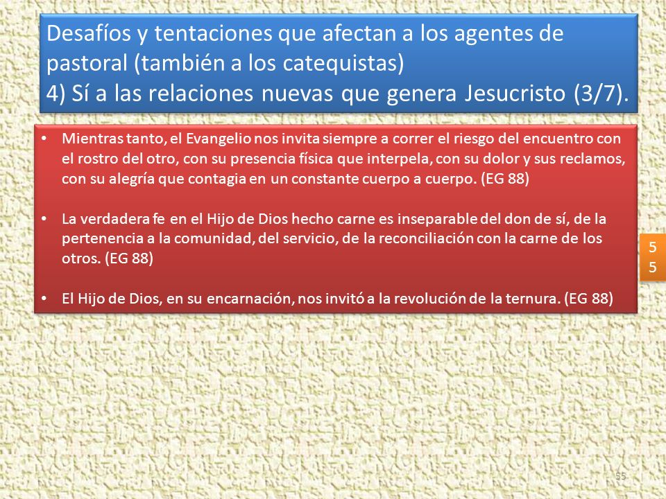 4) Sí a las relaciones nuevas que genera Jesucristo (3/7).