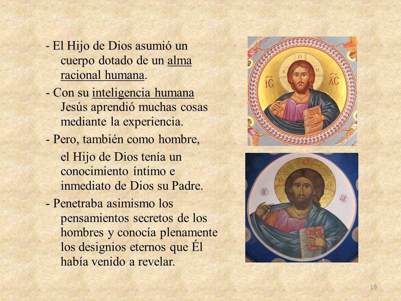 - El Hijo de Dios asumió un cuerpo dotado de un alma racional humana
