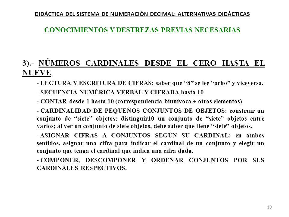 3).- NÚMEROS CARDINALES DESDE EL CERO HASTA EL NUEVE