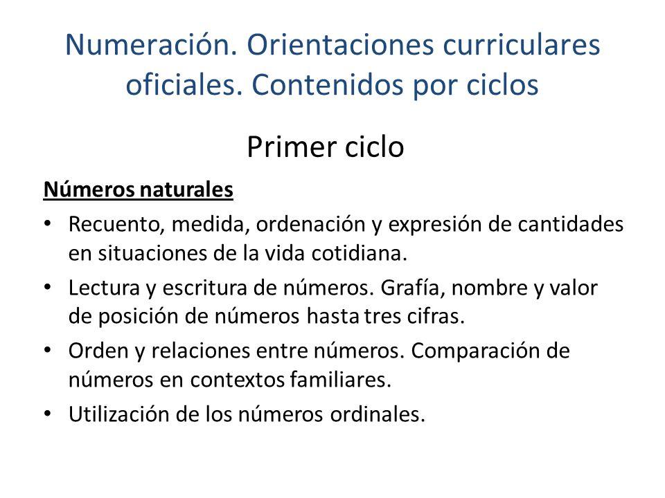 Numeración. Orientaciones curriculares oficiales. Contenidos por ciclos