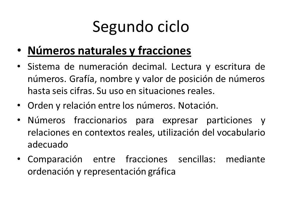 Segundo ciclo Números naturales y fracciones