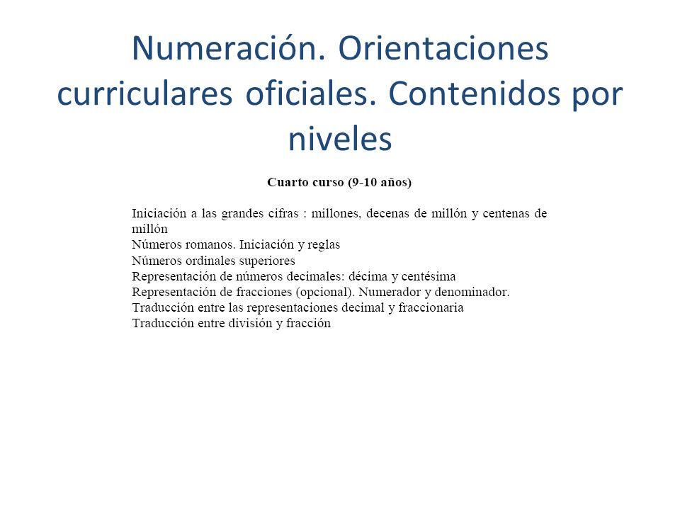 Numeración. Orientaciones curriculares oficiales
