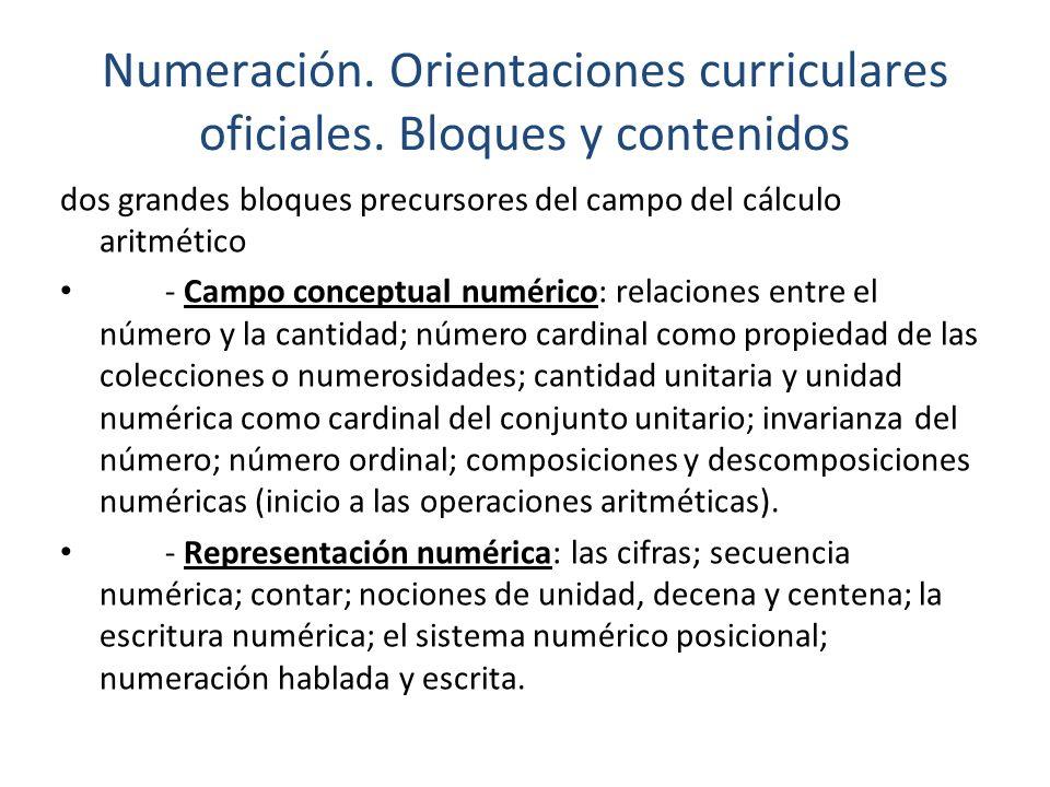 Numeración. Orientaciones curriculares oficiales. Bloques y contenidos