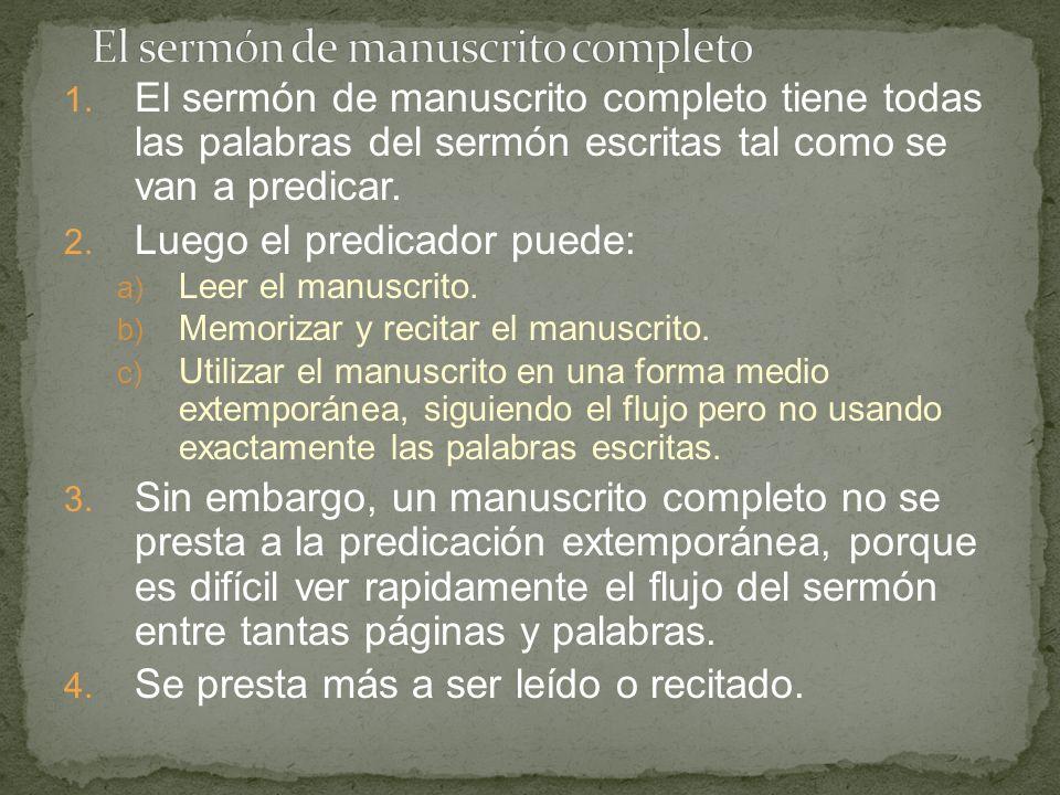 El sermón de manuscrito completo