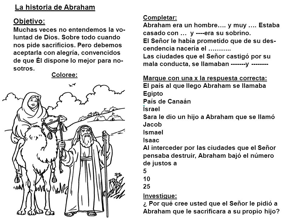 La historia de Abraham Objetivo: Completar: