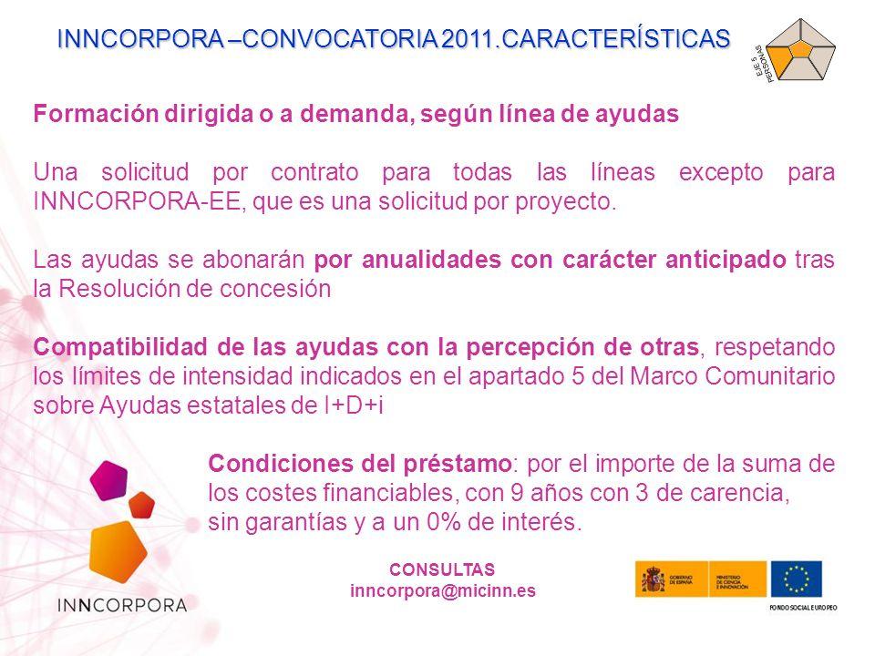 INNCORPORA –CONVOCATORIA 2011.CARACTERÍSTICAS