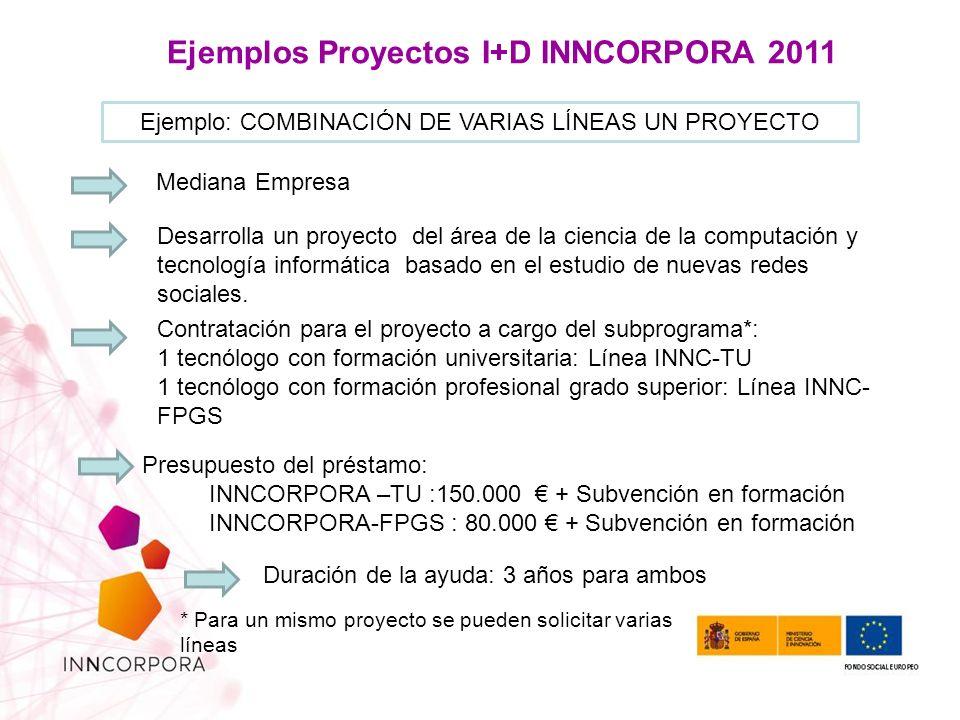 Ejemplos Proyectos I+D INNCORPORA 2011