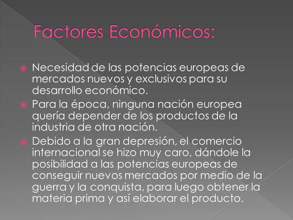 Factores Económicos: Necesidad de las potencias europeas de mercados nuevos y exclusivos para su desarrollo económico.