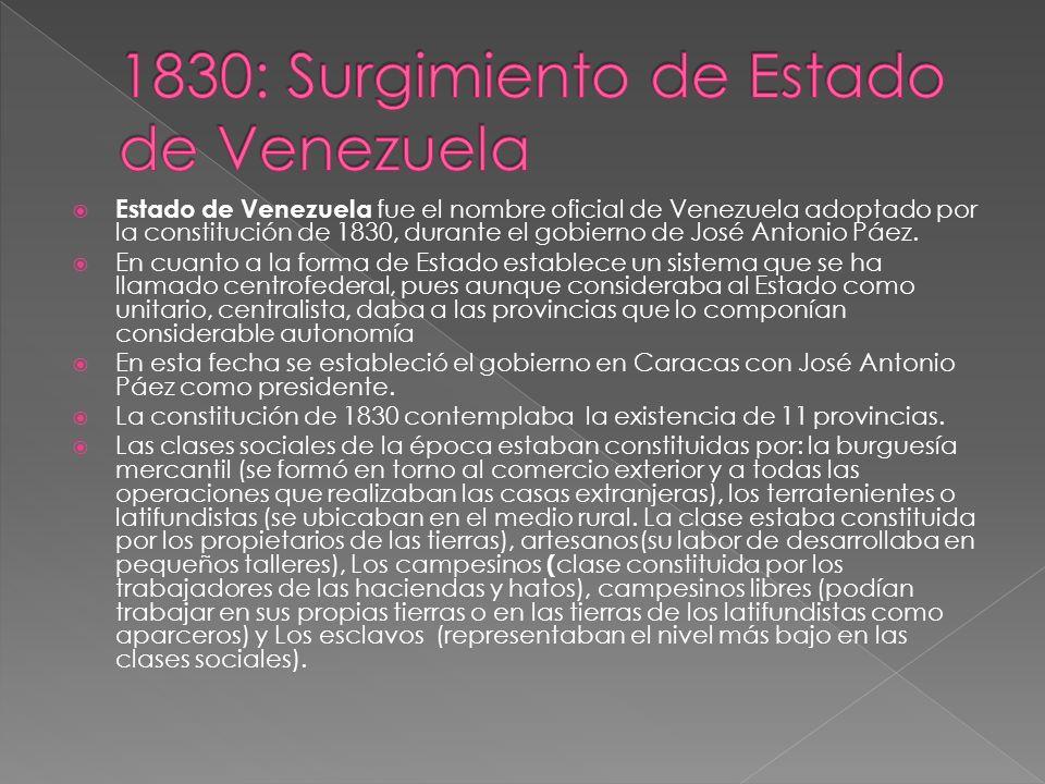 1830: Surgimiento de Estado de Venezuela