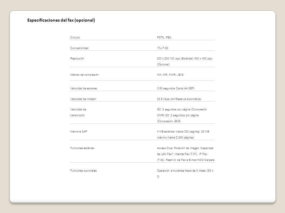 Especificaciones del fax (opcional)