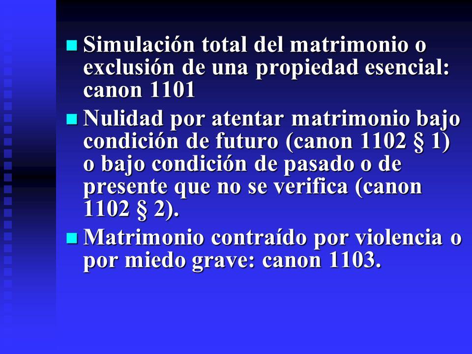Simulación total del matrimonio o exclusión de una propiedad esencial: canon 1101