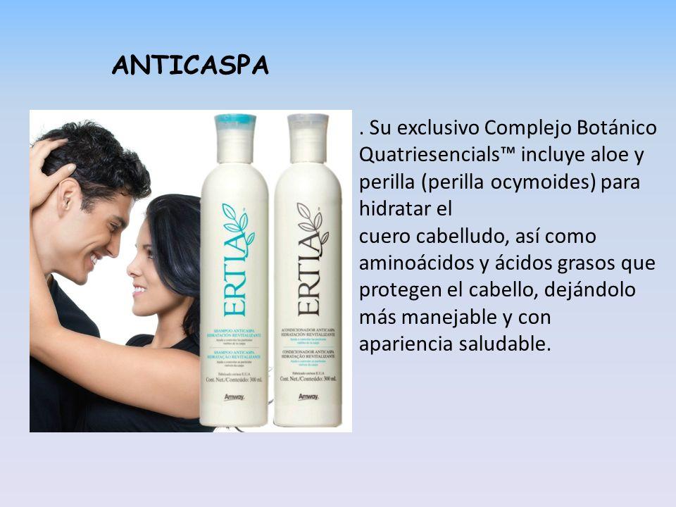 ANTICASPA . Su exclusivo Complejo Botánico Quatriesencials™ incluye aloe y perilla (perilla ocymoides) para hidratar el.