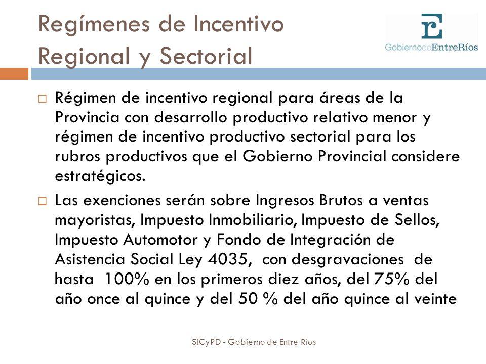 Regímenes de Incentivo Regional y Sectorial