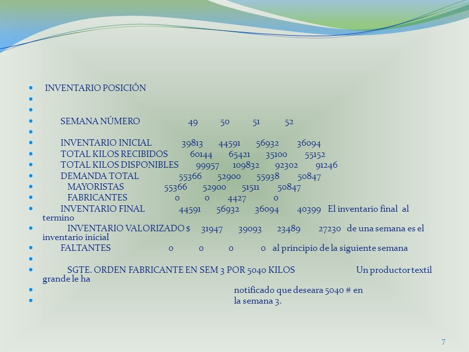 INVENTARIO POSICIÓN SEMANA NÚMERO 49 50 51 52.