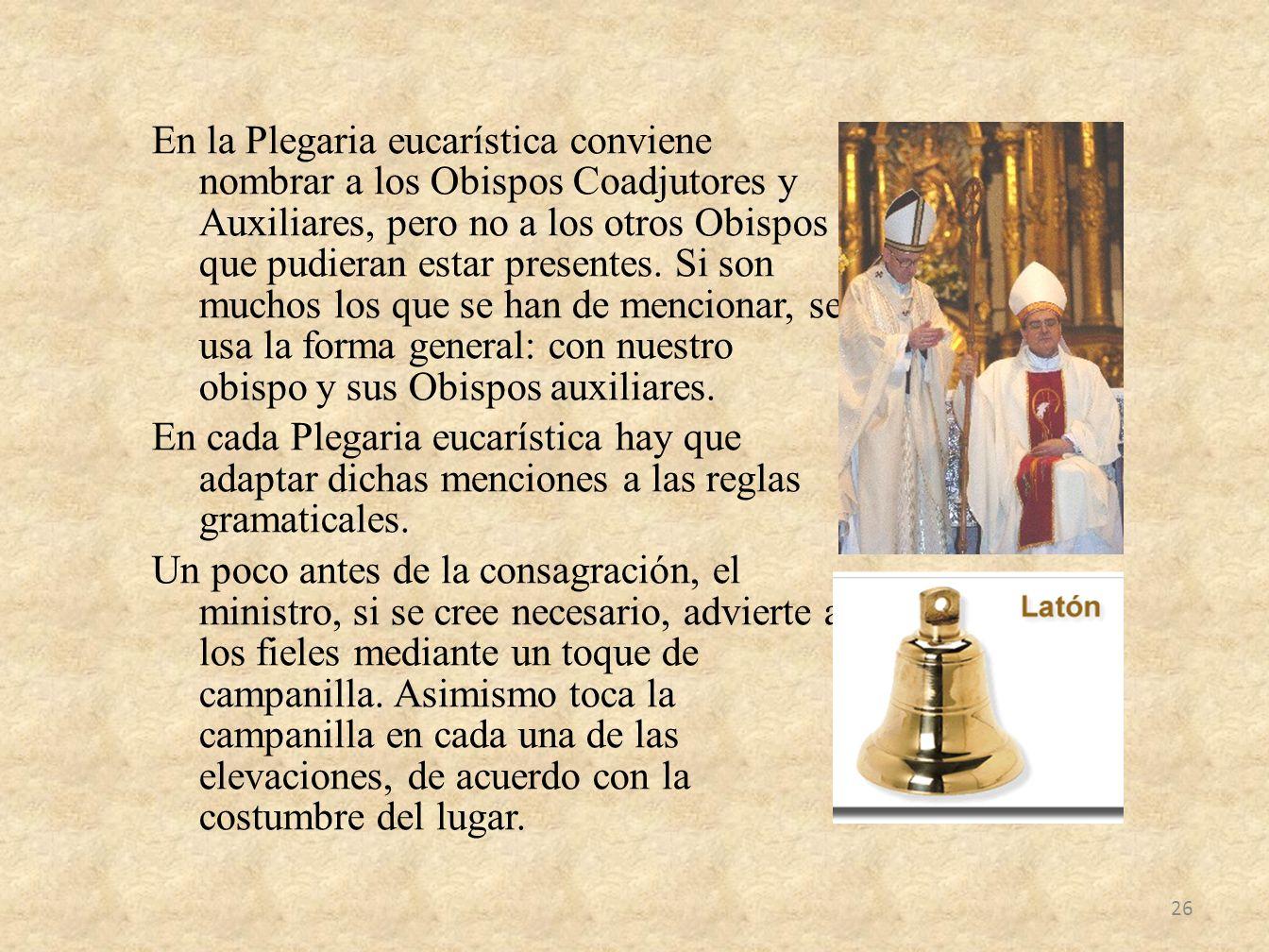 En la Plegaria eucarística conviene nombrar a los Obispos Coadjutores y Auxiliares, pero no a los otros Obispos que pudieran estar presentes.