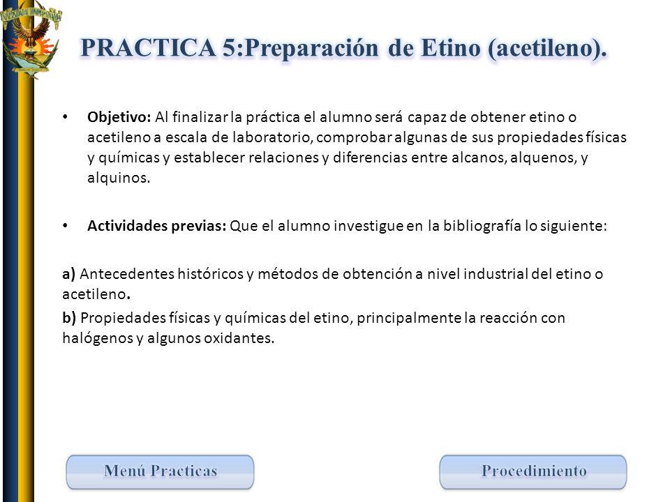 PRACTICA 5:Preparación de Etino (acetileno).
