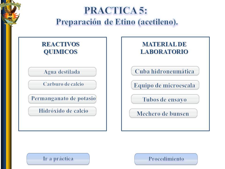 PRACTICA 5: Preparación de Etino (acetileno). REACTIVOS QUIMICOS