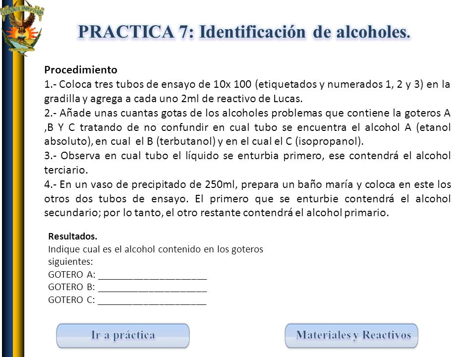 PRACTICA 7: Identificación de alcoholes.