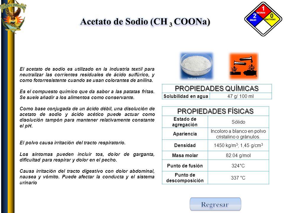 Acetato de Sodio (CH 3 COONa) Punto de descomposición