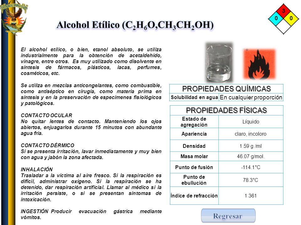Alcohol Etílico (C2H6O,CH3CH2OH)