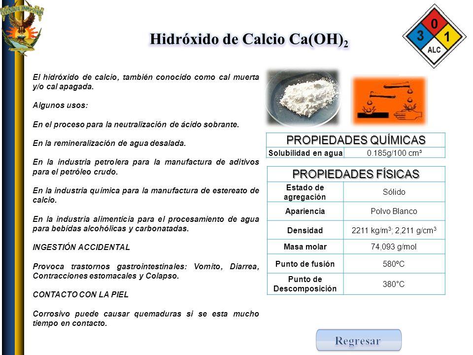 Hidróxido de Calcio Ca(OH)2 Punto de Descomposición