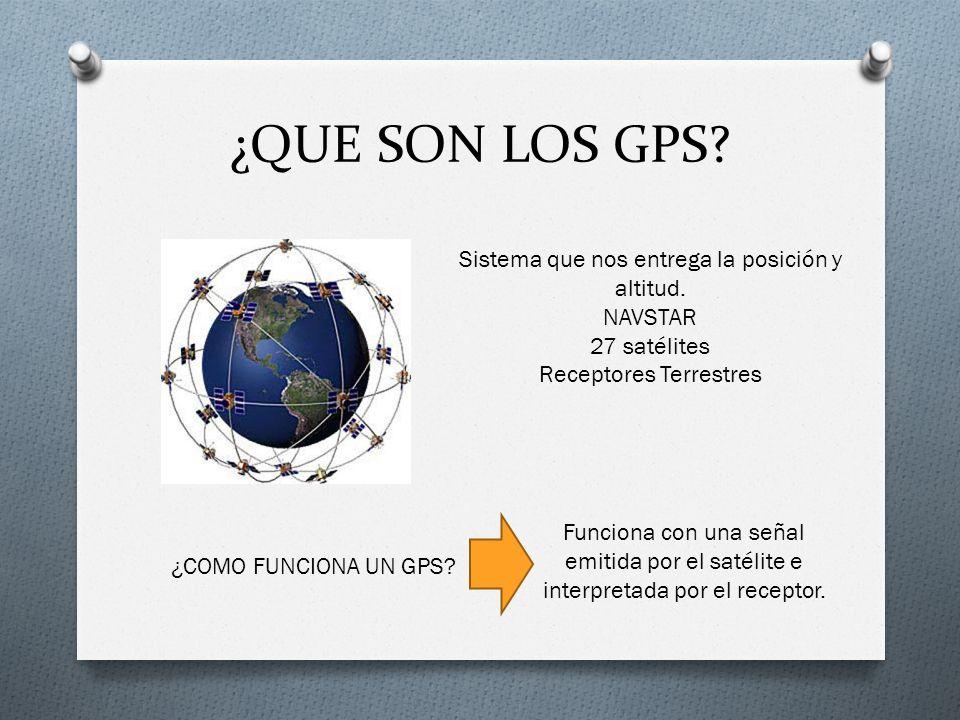 ¿QUE SON LOS GPS Sistema que nos entrega la posición y altitud.