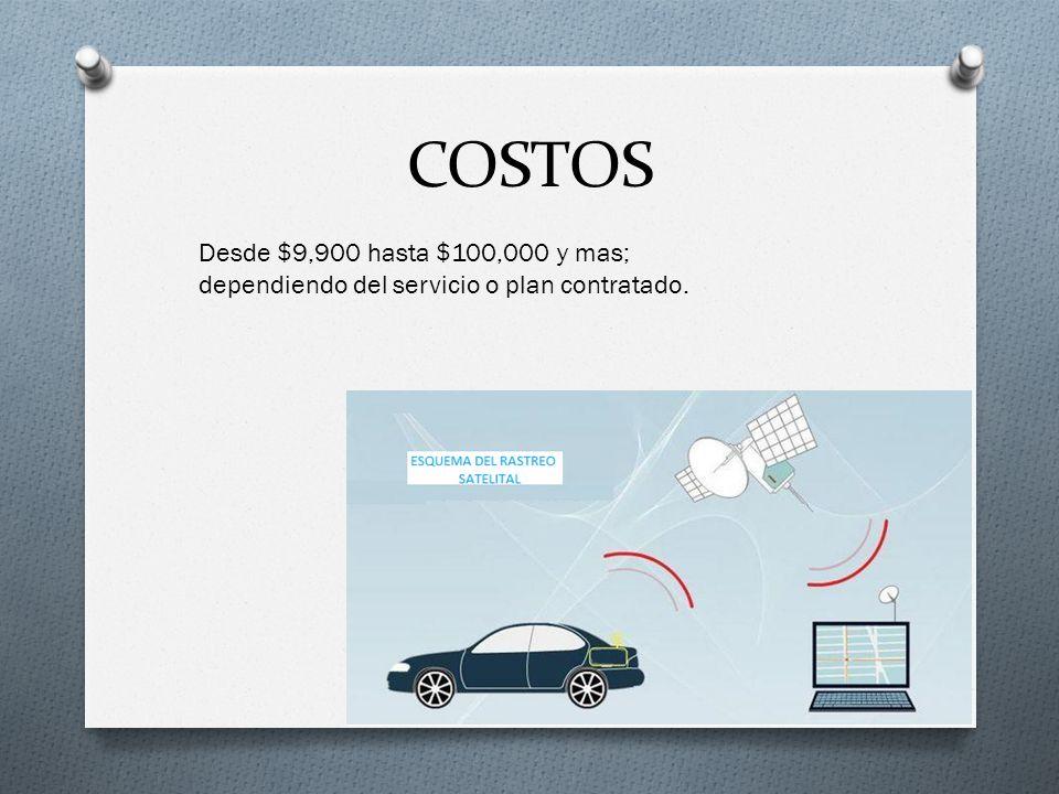 COSTOS Desde $9,900 hasta $100,000 y mas; dependiendo del servicio o plan contratado.