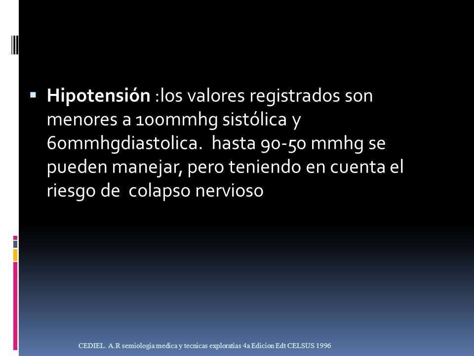 Hipotensión :los valores registrados son menores a 100mmhg sistólica y 60mmhgdiastolica. hasta 90-50 mmhg se pueden manejar, pero teniendo en cuenta el riesgo de colapso nervioso