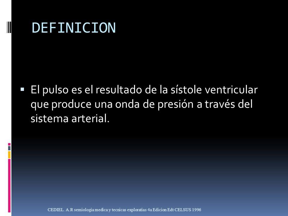 DEFINICIONEl pulso es el resultado de la sístole ventricular que produce una onda de presión a través del sistema arterial.