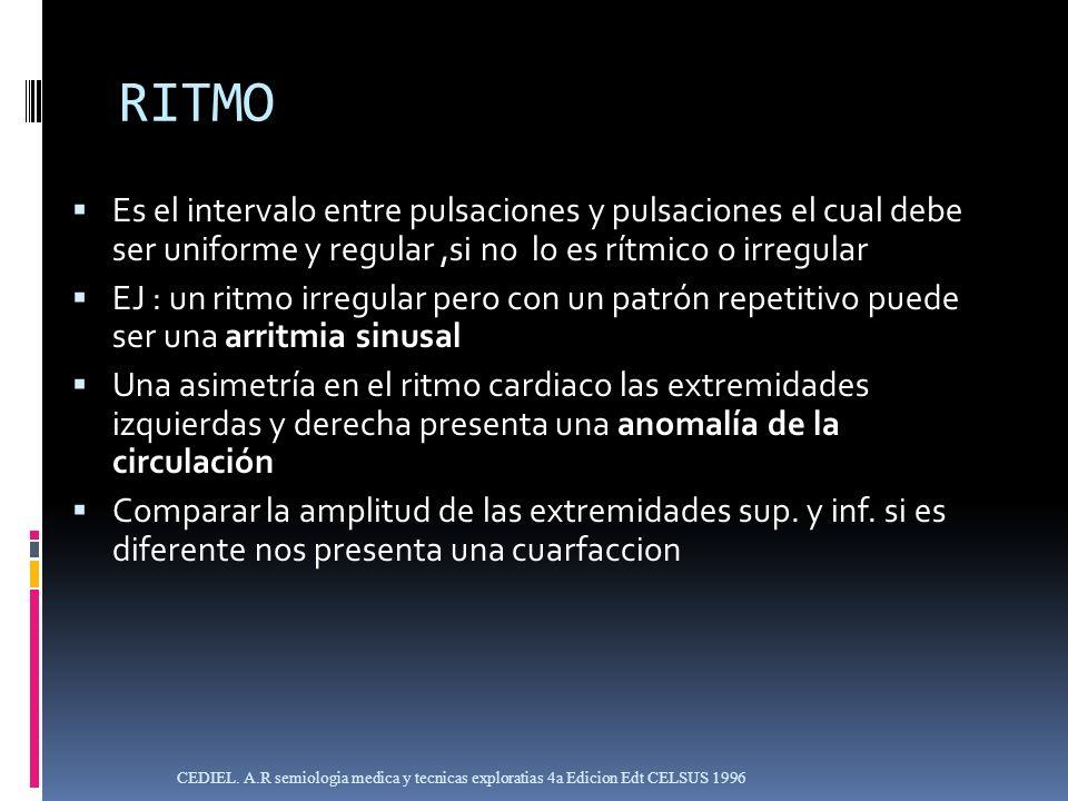 RITMOEs el intervalo entre pulsaciones y pulsaciones el cual debe ser uniforme y regular ,si no lo es rítmico o irregular.